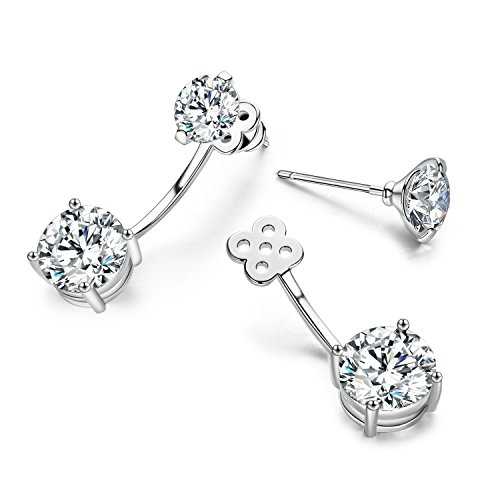 Jackets Zirconia Cubic Earring - SBLING Platinum-Plated Front Back 2 in 1 Cubic Zirconia Stud and Ear Jacket Earrings (5 cttw)