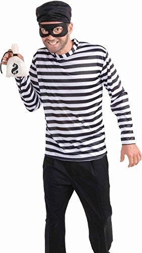 [Men's Burglar Costume, White/Black, One Size] (Robber Adult Costumes)