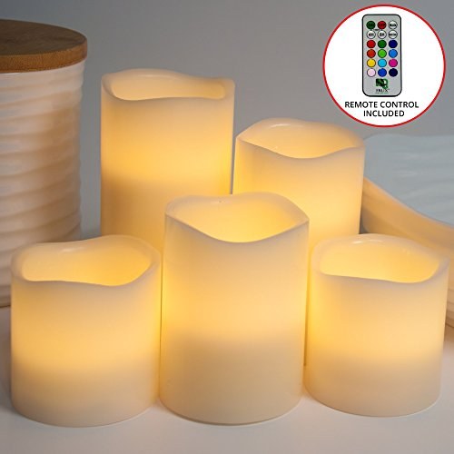 Scented Round Pillar Candle (Classic 5 Piece Flameless Pillar Candles, Real Wax Flickering LED Battery Powered Fake Set No Heat and Safe, Perfect for Holiday Decor, Xmas, Weddings, Centrepieces - 12 Color Remote Control)