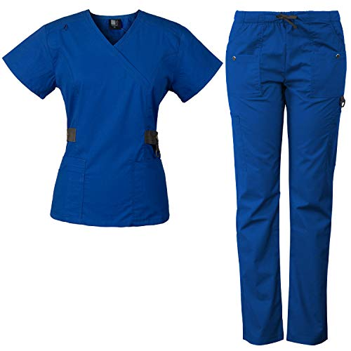 Medgear 12-Pocket Women's Scrub Set with Silver Snap Detail & Contrast Trim (Royal, 3XL) (Contrast Trim Top)