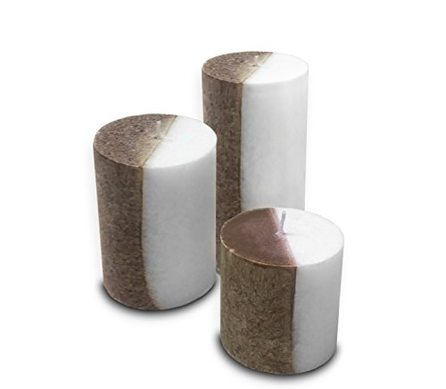- Decor Hut Scented Two Tone Pillar Candle Set of 3 Includes 3 Inch, 4 Inch & 6 Inch Gift Wrapped Candles (Ginger)