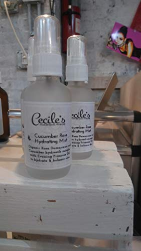 Organic Cucumber Rose Hydrating Mist + Toner for delicate sensitive acne prone mature skin by Cecile's Bath and Body