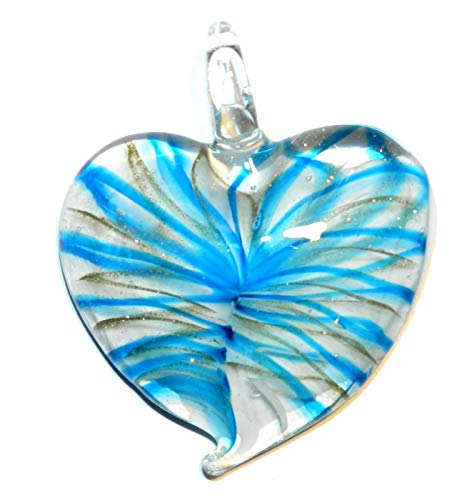 White Heart Lampwork Glass Pendant Blue & Gold Bronze Sparkle Swirl 45mm AG01