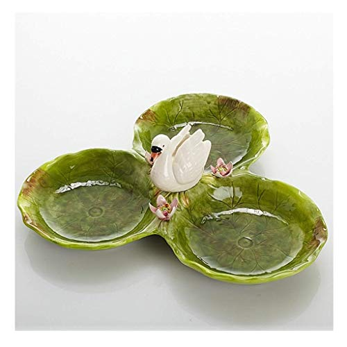 - Ceramic Fruit Plate Nordic Hand-painted Swan Three Grid Snack Candy Dish Home Living Room Table Decoration Size:33.5cm