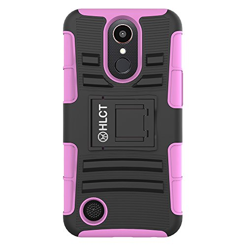 LG K20 Plus Stand Case, HLCT Rugged Shock Proof Dual-Layer P