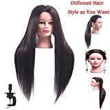 FABA Mannequin Head Synthetic Fiber Hair 26-28 inch Long Hair Styling Training Head Cosmetology Doll Head Hairdressing for Cutting Braiding Practice with Free Clamp (2#)
