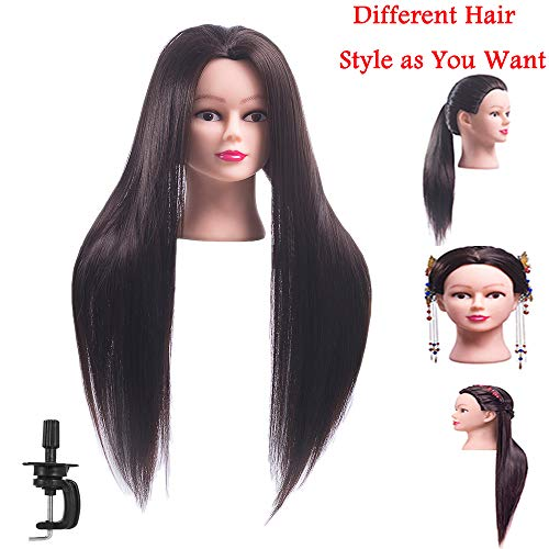 FABA Mannequin Head Synthetic Fiber Hair 26-28 inch Long Hair Styling Training Head Cosmetology Doll Head Hairdressing for Cutting Braiding Practice with Free Clamp