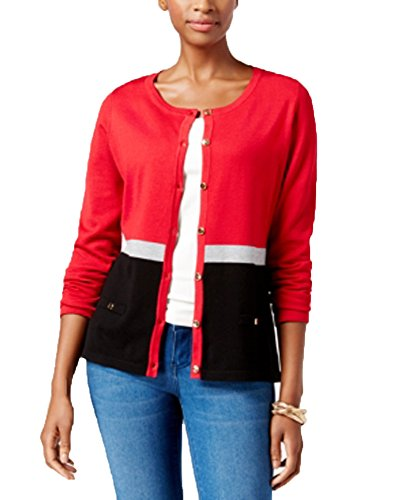 a9e01e3f Karen Scott Colorblocked Cardigan (New Red Amore Combo, XL)