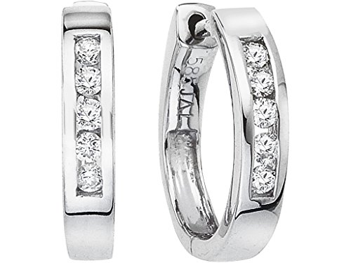14k White Gold 15MM Secure Lock Hoops (.22 - Tension Earrings Set Diamond