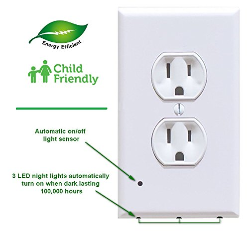 Wall Outlet Cover With LED Night Lights - New Improved Design - (White, Duplex, 4 Pack) - No Batteries Or Wires - Installs In Seconds - Electrical Power Outlet Socket Plate LED Sensor Guide Lights