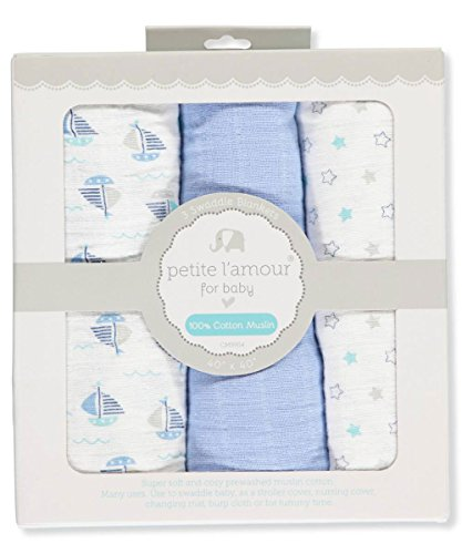 Petite L'amour Baby Boys' 3-Pack Swaddle Blankets - blue, on