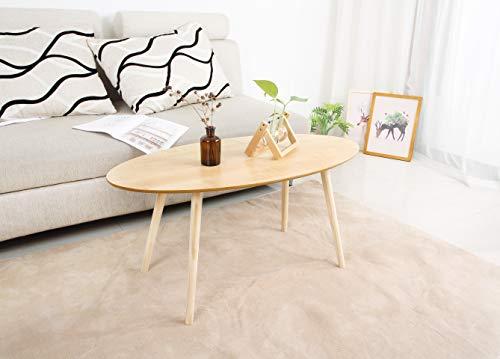 GEMU Wood Coffee Table Tea Sofa Side Table Living Room Furniture (Outdoor Oval End Table)