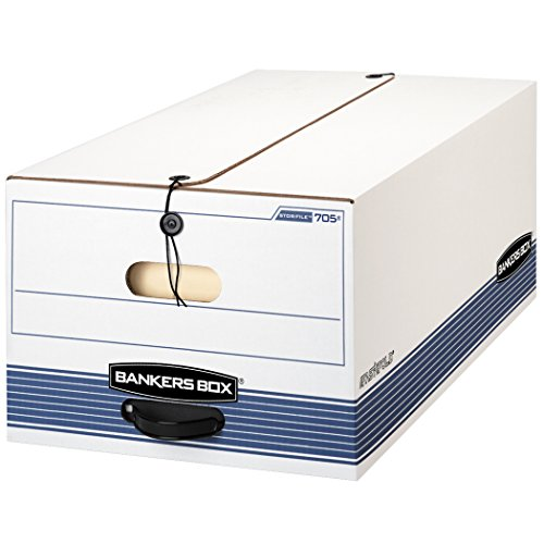 Fellowes Bankers Box STOR/FILE Medium-Duty Storage Boxes, Legal Size, String and Button, 4 Pack - Box Fast Bankers Fold