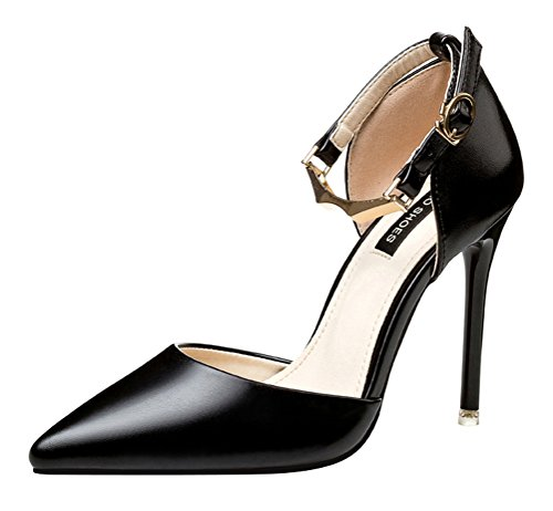 Passionow Women's Pointed Toe Stilettos High Heel Buckle Ankle Strap Patent Leather Cutout Pumps (5.5 B(M) US,Black)