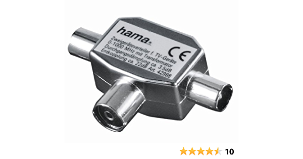 Hama 75122469 - Distribuidor coaxial de Antena (2 machos, 1 Hembra), Color Negro