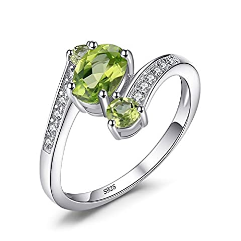 JewelryPalace 925 Sterling Silver 1.1ct Natural Green Peridot 3 Stone Anniversary Ring Size 6 (Rings Cheap Silver)