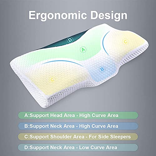 Contour Memory Foam Pillow for Neck Pain, Ergonomic Orthopedic Cervical Pillows for Sleeping with Magnetic Therapy Cloth(Queen)
