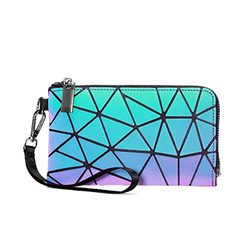 Geomatric Purse Women, LOVEVOOK Luminous Long Wallet, Large Capacity PU Leather Cluth, 3 Card Slots with Zipper, for Coin Key Credit Card