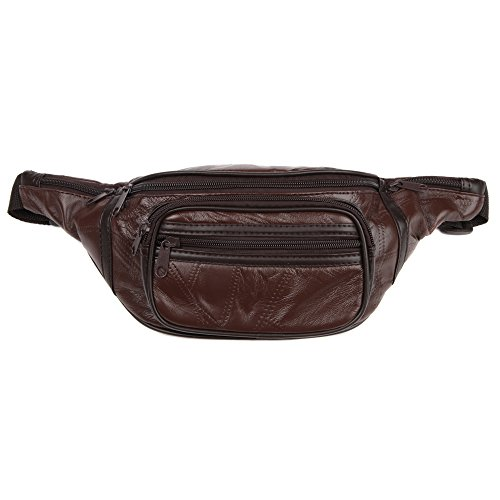 Home-X Genuine Leather Lambskin Waist Bag Fanny Pack, The Perfect To-Go Travel Bag for Men and Women of All Ages, Brown