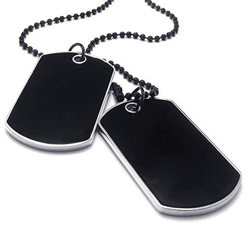 KONOV Schmuck Herren Halskette, 2 Militärischen Erkennungsmarken Armee Stil Dog Tag Anhänger mit 68cm Kette, Schwarz Silber