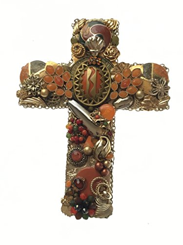 Handcrafted Gold & Orange Wall Cross, Artfully Created From Recycled Jewelry, (Orange Wall Cross)