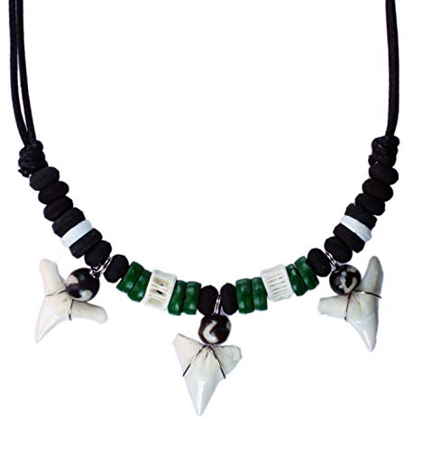exoticdream Shark Tooth Wood Beads Necklace Handmade Hawaiian Style Beach Boys Girls (Green 3teeth)