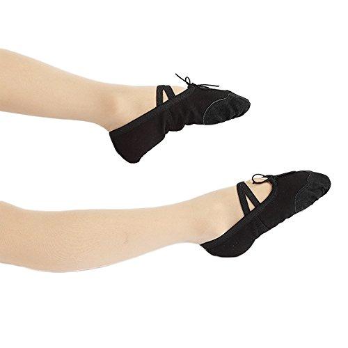 Adultos Negro Para vococal Chicas Zapatillas Ballet De Clsicas Baile zapatos Yoga Mujeres Baile Lona qW7FWOUz