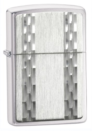 (Zippo Lighter Vertical Diamond Cut, Brushed Chrome)