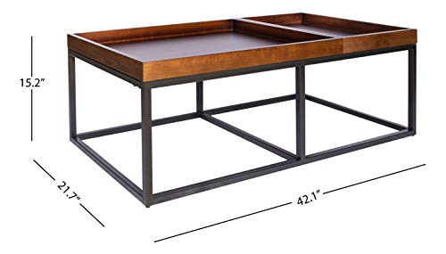 Living Room Amazon Brand – Rivet Modern Industrial Coffee Table with Metal Base and Trays, 42.1″W, Walnut Finish modern coffee tables