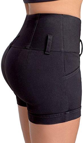 Lowla Mid Rise Slim Fit Stretch Denim Shorts Pantalones Cortos de Mujer Black 2