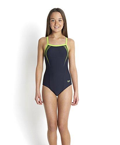 Speedo Mädchen Sports Logo Thinstrap Muscleback Badeanzug, Speedo Navy/Citrus Green, 152
