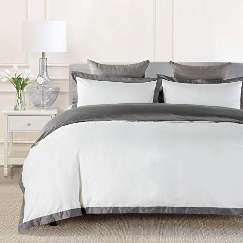 JOHNPEY Duvet Cover King Size White&Grey,1000TC Egyptian Cotton 3pc Hotel Bedding Set - Soft Comforter Cover,Sateen Weave,Button Closure,Room Decor for Men Women(Gray/Off-White,King)