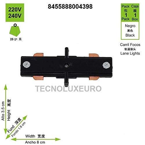 Corsia Retto Alluminio Nero 8 cm Pack 2