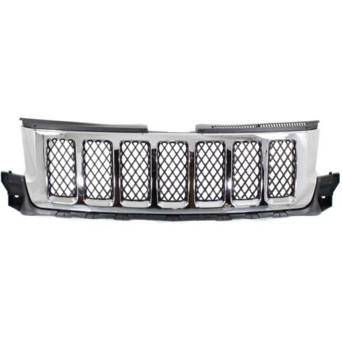 Make Auto Parts Manufacturing - GRAND CHEROKEE 11-13 GRILLE, Chr Shll/Ptd-Blk Insrt, (Auto Chr)