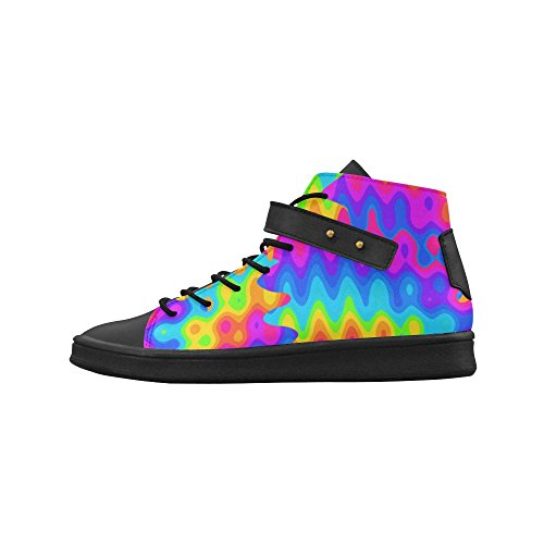 D-story Round Toe High Top Zapatos Amazing Acid Rainbow Sneakers Para Mujer