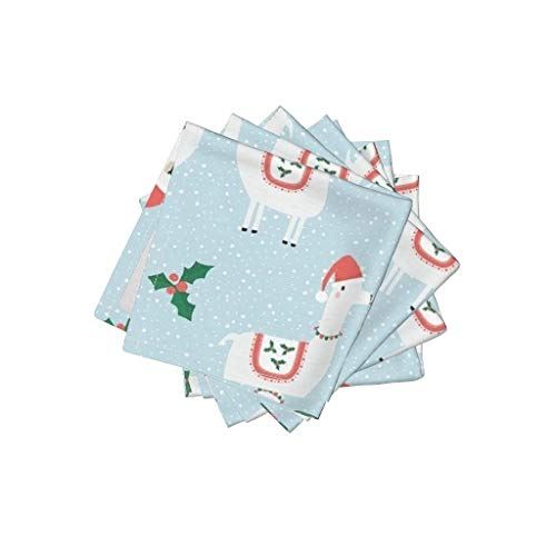 (Blue Llamas Linen Cotton Cloth Cocktail Napkins Llamas Llamas Christmas Llamas Llama Alpaca Christmas Holly Santa Hats Novelty Christmas by Red Raspberry Design Set of 4: 10 x 10in)