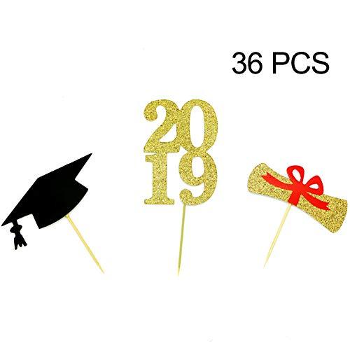 YuBoBo 2019 Graduation Cupcake Topper, 36pcs Graduate Food/Appetizer Picks For Graduation Party Mini Cake Decorations, Diploma, 2019, Grad Cap Set ()