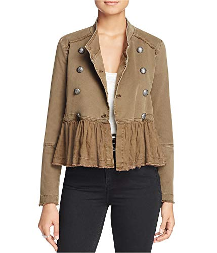 - Free People Womens Peplum Fringe Military Jacket Green M