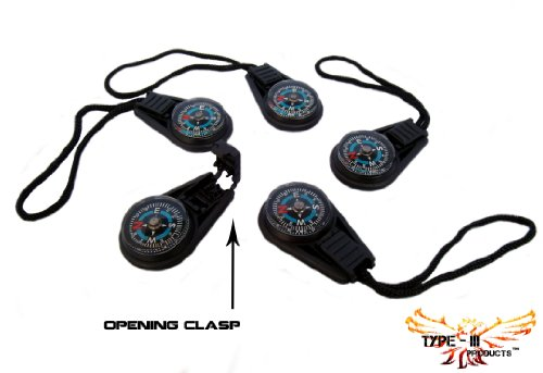 Type-III 5pc Liquid Filled Zipper Pull Compass Set for Paracord Projects or Bug-Out Bags (2nd Gen)