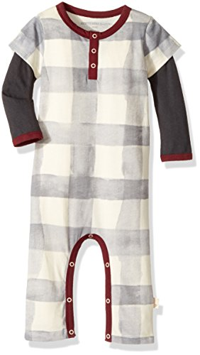 Burt's Bees Baby Baby Boys' Organic One-Piece Romper Coverall, Winter Wool Buffalo Check, 12 Months