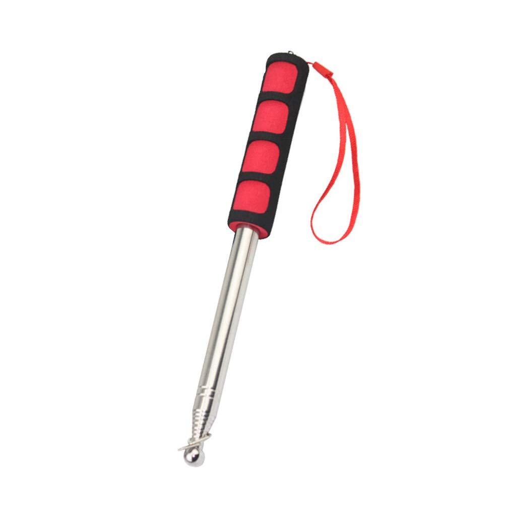 STOBOK Edelstahl Lehrer Zeiger Teleskop ausziehbar Handheld Klassenzimmer Zeiger roter Schwamm Griff
