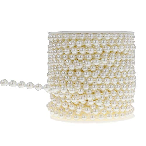 SHINYTIME Rhinestone Trims 25 Yards Artificial Pearls String Beads Chain Trim Ideal for Clothing Wedding Cakes Party Embellishments Beautiful Christmas Decroation and Gifts for Her