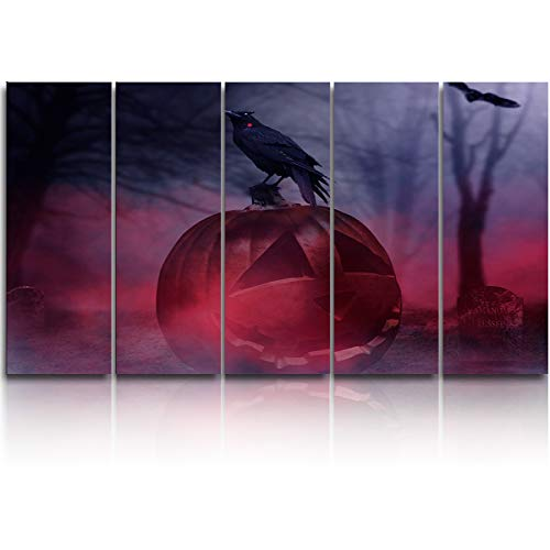 Large Canvas Wall Art 5 Pieces Modern Art Painting,Horror Halloween Pumpkin Crow Tombstone Design Artworks for Bedroom Living Room Bathroom Office Home Decor Stretched and Ready to Hang,10x30inchx5