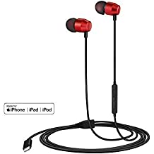 PALOVUE Earflow in-Ear Lightning Headphone Magnetic Earphone MFi Certified Earbuds with Microphone Controller Compatible iPhone X/XS/XS Max/XR iPhone 8/P iPhone 7/P (Metallic Red)