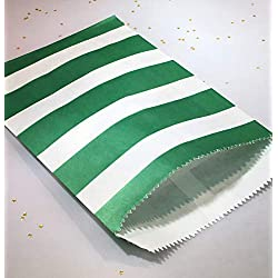 "Green and White Stripe Party Favor Bags with Stickers, Medium Size (5"" x 7.5""), Food Safe, Made in USA"