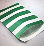 popcorn bags green - Green and White Stripe Party Favor Bags with Stickers, Medium Size (5.5