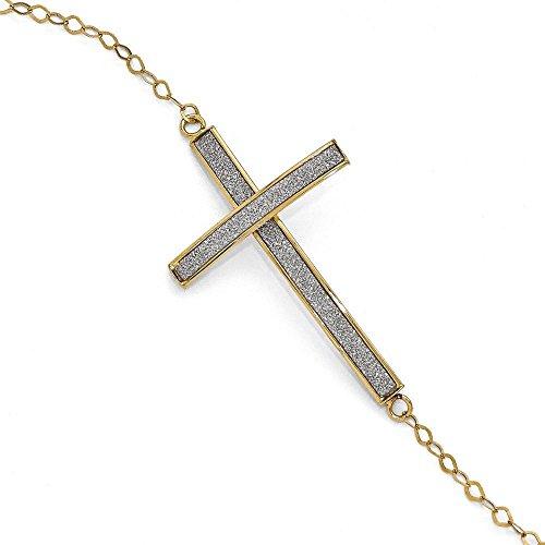 Or 14ct Glimmer infusé sidways-Bracelet Croix-20cm