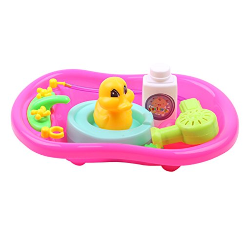 Homyl Kid Baby Toddler Happy Bathtub Childhood Pretend Play Game Bath Water Forgs Duck Toys Educational Red (Doll Baby Center Nursery)