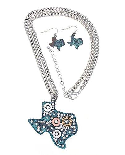 Women's Stone Stud and Shotgun Shell Primer Fashion Necklace and Earring Set - Texas, Mint (Shotgun Shell Jewelry)