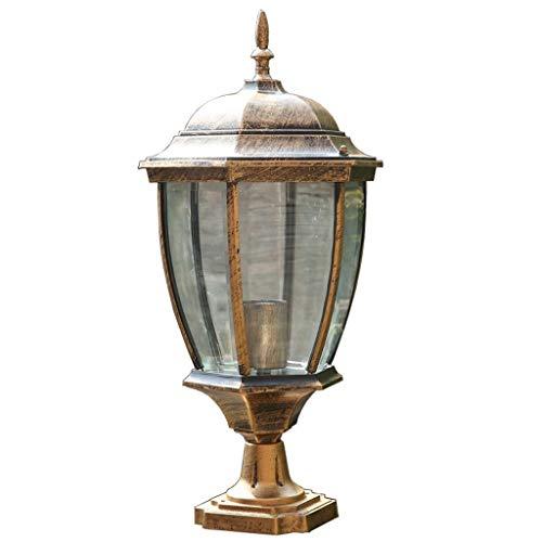 (TYUIO Royal Bulb Pier Lamp Outdoor Solar Light Fixture, Flat Mount, Weathered Bronze (Color : Brass, Size : High 37.5cm))
